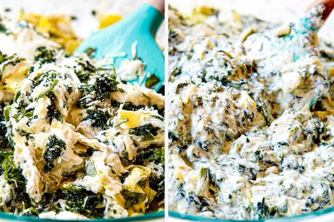 showing how to make white chicken lasagna by mixing ricotta, spinach artichokes, and Parmesan