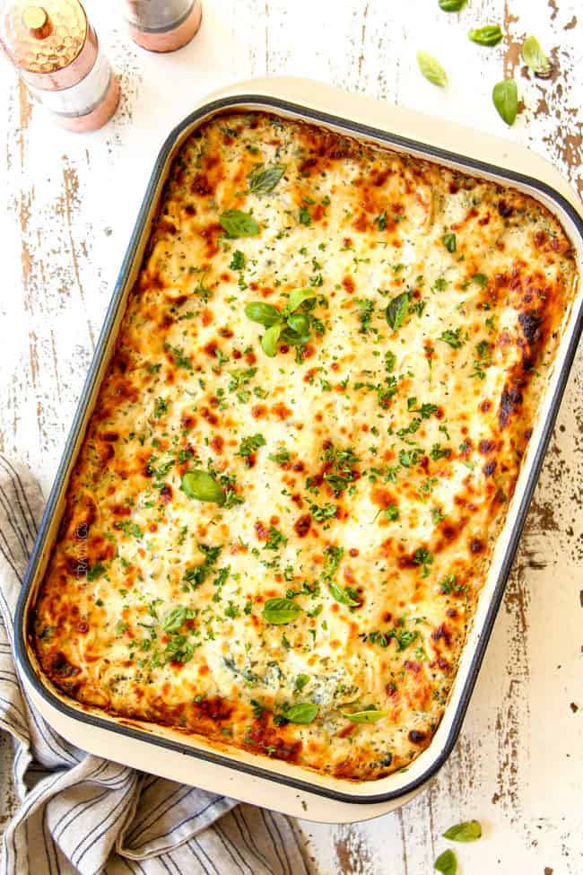 showing how to make white lasagna by broiling cheese