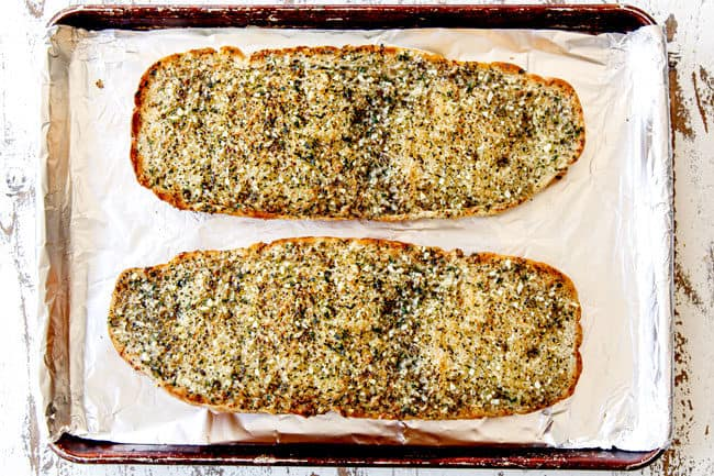 showing how to make garlic bread by baking in the oven until golden