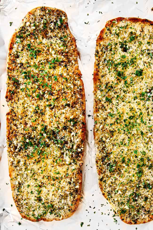 showing how to make homemade garlic bread recipe by baking in the oven