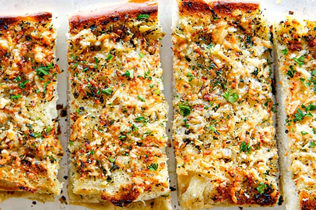 showing how to make cheese garlic bread by baking until golden