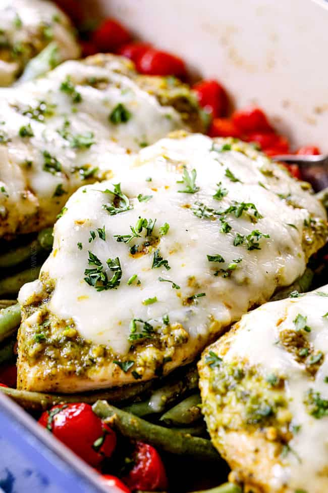 serving basil pesto chicken with melted mozzarella cheese