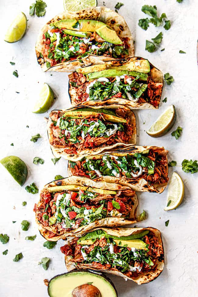 top view of shredded chicken tacos recipe