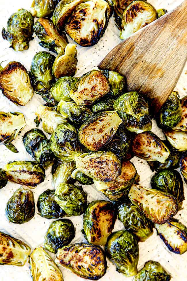 top view of how to roast Brussels Sprouts on a baking sheet