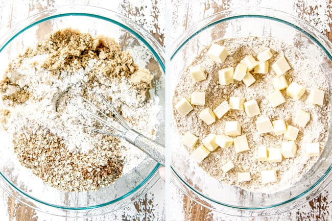 a collage showing how to make apple crisp topping by  stirring flour, oats, browns sugar together then topping with cold chopped butter