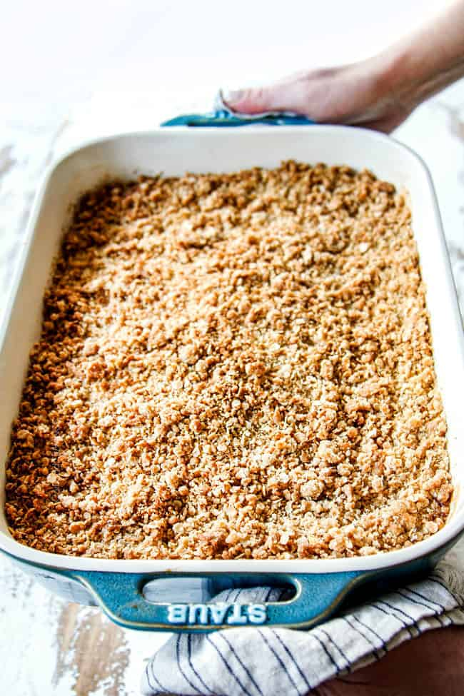 showing how to make best apple crisp recipe by baking until apple crisp topping is crunchy and golden