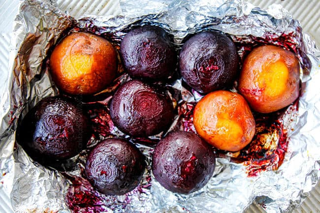 top view showing how to make beet salad by roasting beets in foil until tender