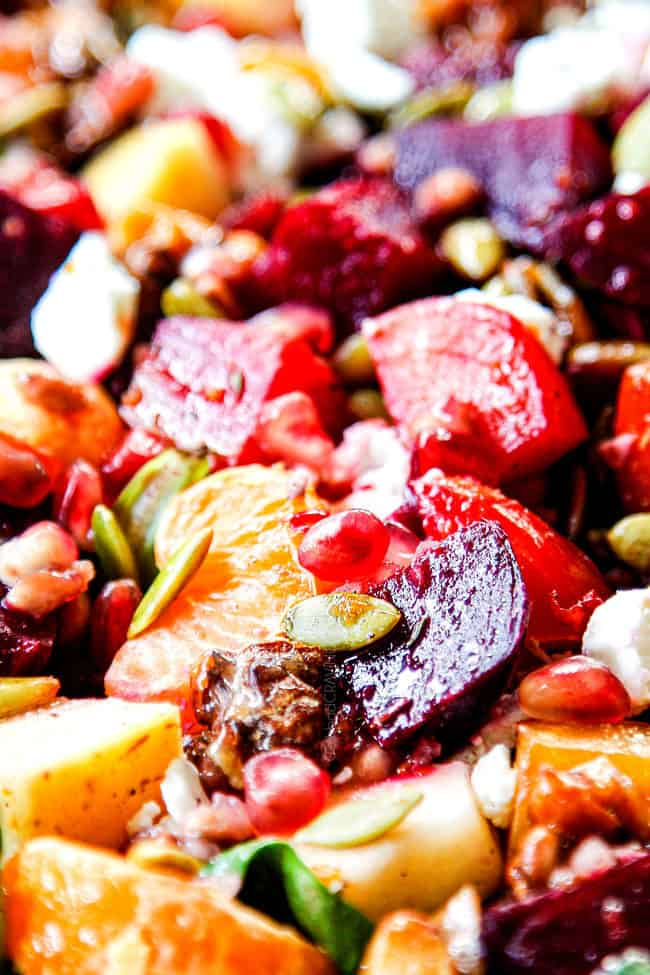 up close of roasted beet salad recipe with beet dressing