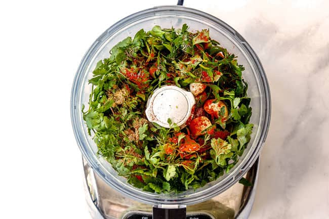 showing how to make cauliflower salad by adding dressing ingredients to food processor