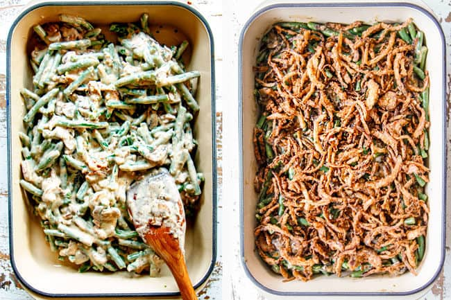 a collage showing how to make green bean casserole by adding green beans to a 9x13 pan then adding fried onions