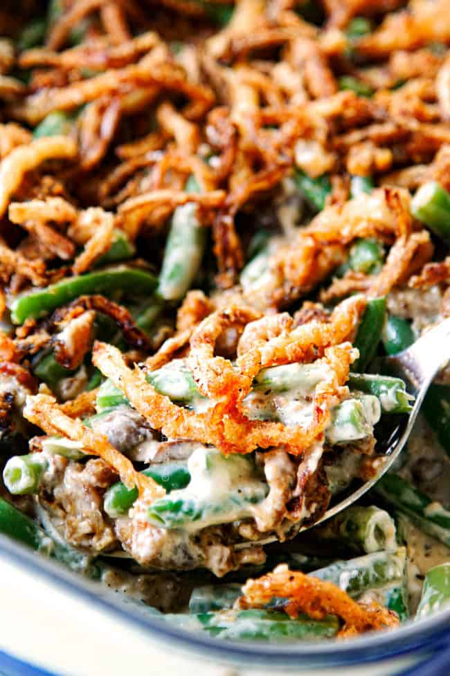 up close of a spoonful of easy green bean casserole