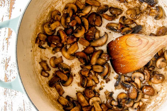 showing how to make fresh green bean casserole from scratch by sauteing mushrooms in butter