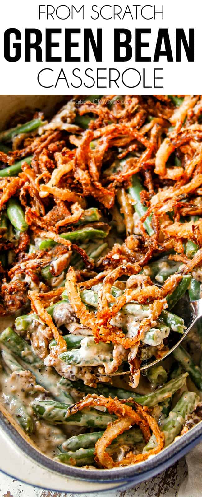 up close of best green bean casserole recipe in a 9x13 pan