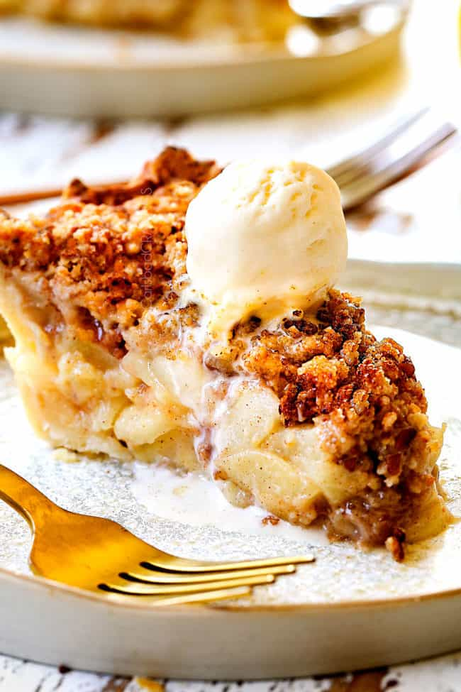 up close of a slice of easy pear pie recipe topped with ice cream