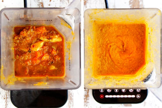 a collage showing how to make butternut squash soup recipe by adding soup to a blender then blending until smooth