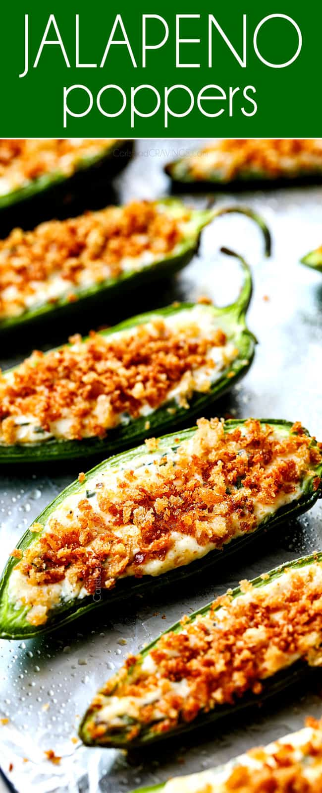 showing how to make the crunchiest baked jalapeno poppers by adding panko topping