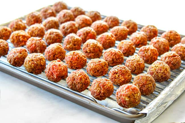 showing how to make best cocktail meatball recipe by lining meatballs on a baking rack without touching