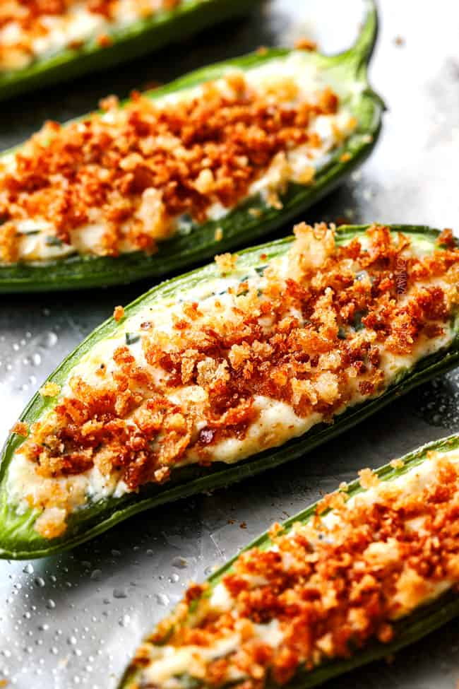 up close of best baked jalapeno poppers with cream cheese and panko
