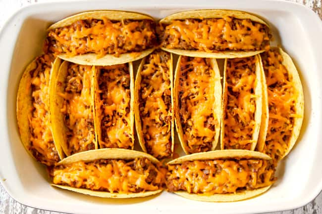 showing how to make ground beef tacos by baking until the cheese is melted