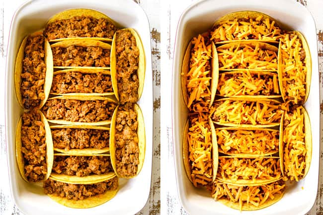 showing how to make ground beef tacos by adding ground beef taco filling and cheese to taco shells