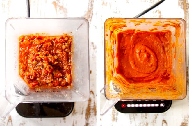 showing how to make chicken tinga by blending tinga sauce in a blender until smooth