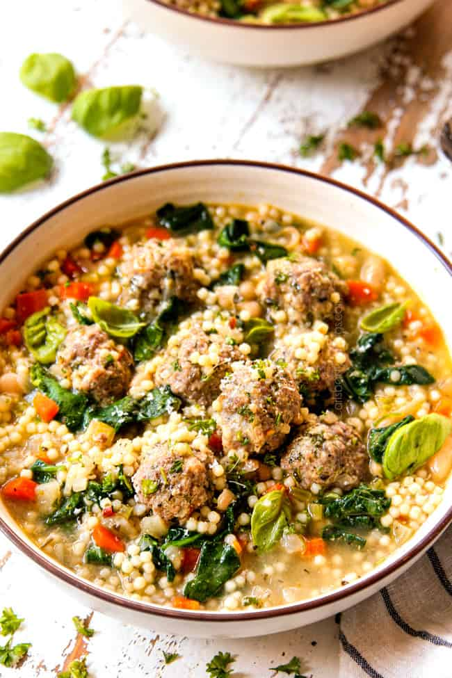 side view of authentic Italian Meatball Soup recipe with meatballs and acini de pepe