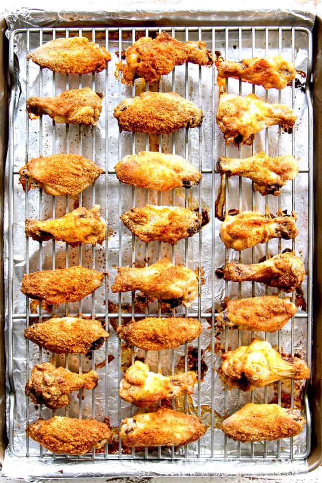 showing how  to make baked Korean Chicken Wings by baking on a baking rack on a baking sheet until crispy