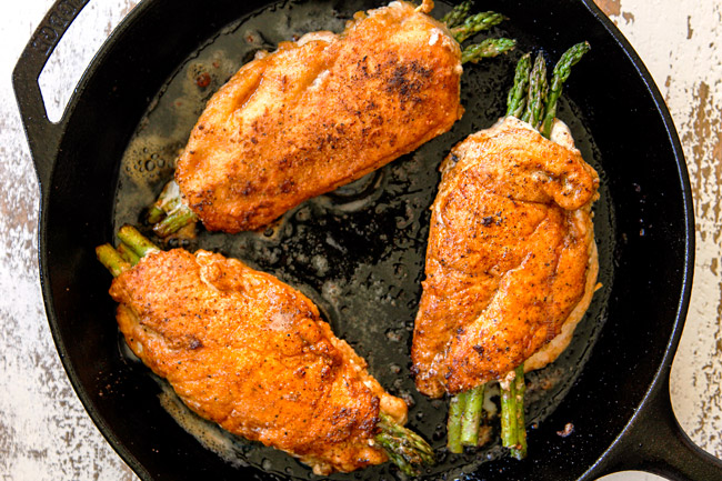 showing how to make chicken piccata recipe by searing chicken until golden in oil