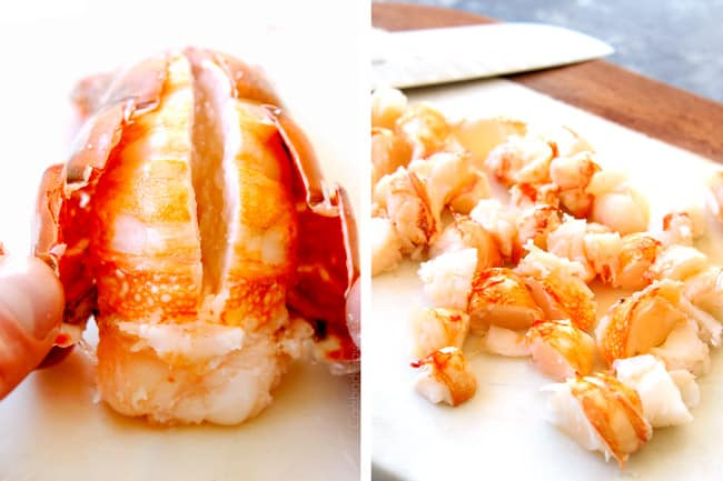 a collage showing showing how to make lobster bisque by pulling shell off lobster tails with fingers hen chopping lobster meat into bite size pieces