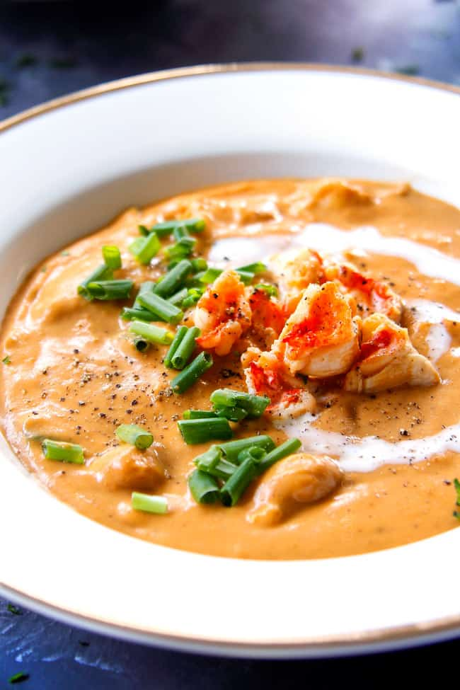 up close of lobster bisque recipe in a white bowl