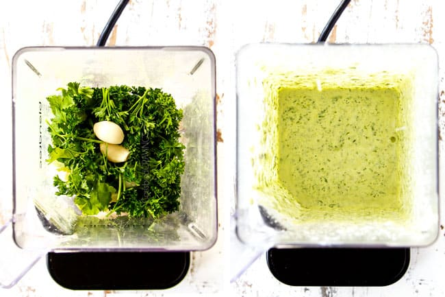 a collage showing to make chicken shawarma recipe by adding lemon garlic yogurt sauce ingredients (cilantro, parsley, garlic Greek yogurt) to a blender and blending until smooth