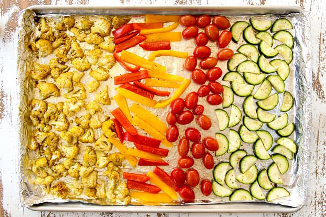 showing to make chicken shawarma recipe by roasting cauliflower, bell peppers, tomatoes and zucchini in a pan