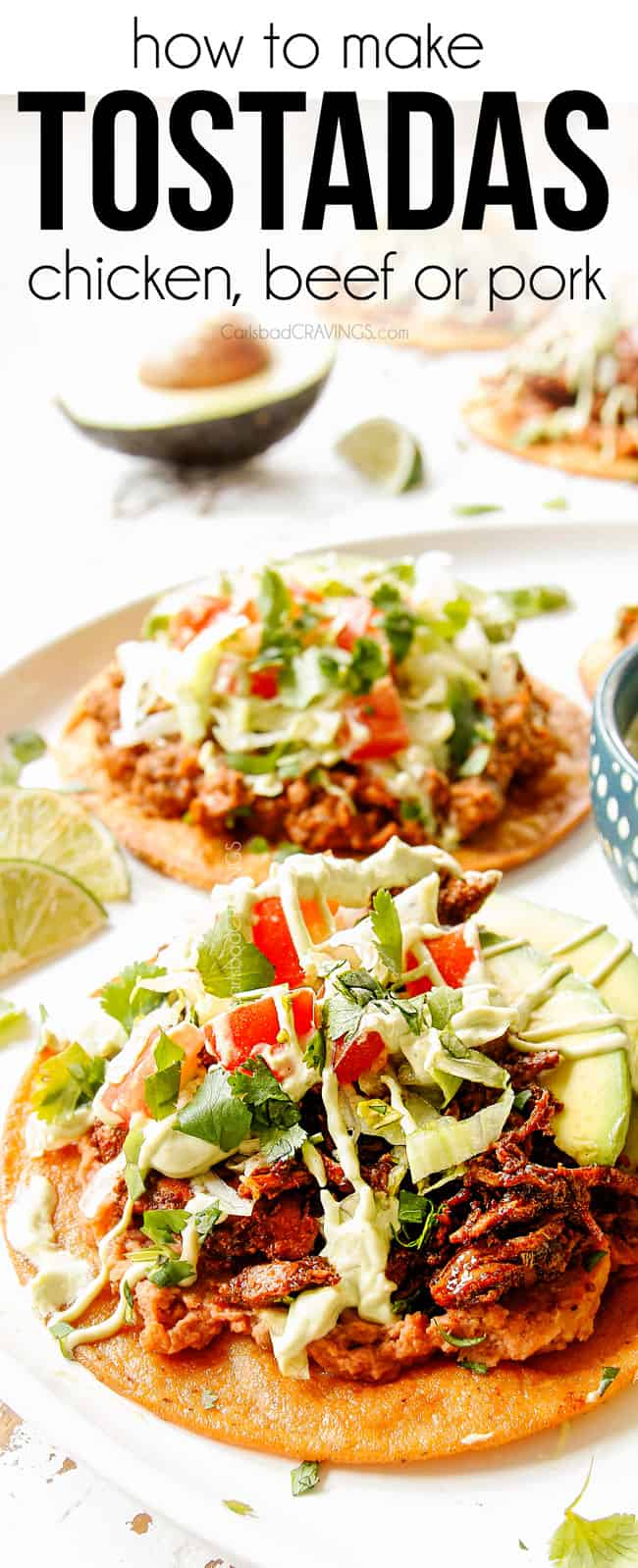 showing how to top tostada shells by adding beans, cheese, beef, lettuce, tomatoes and sour cream