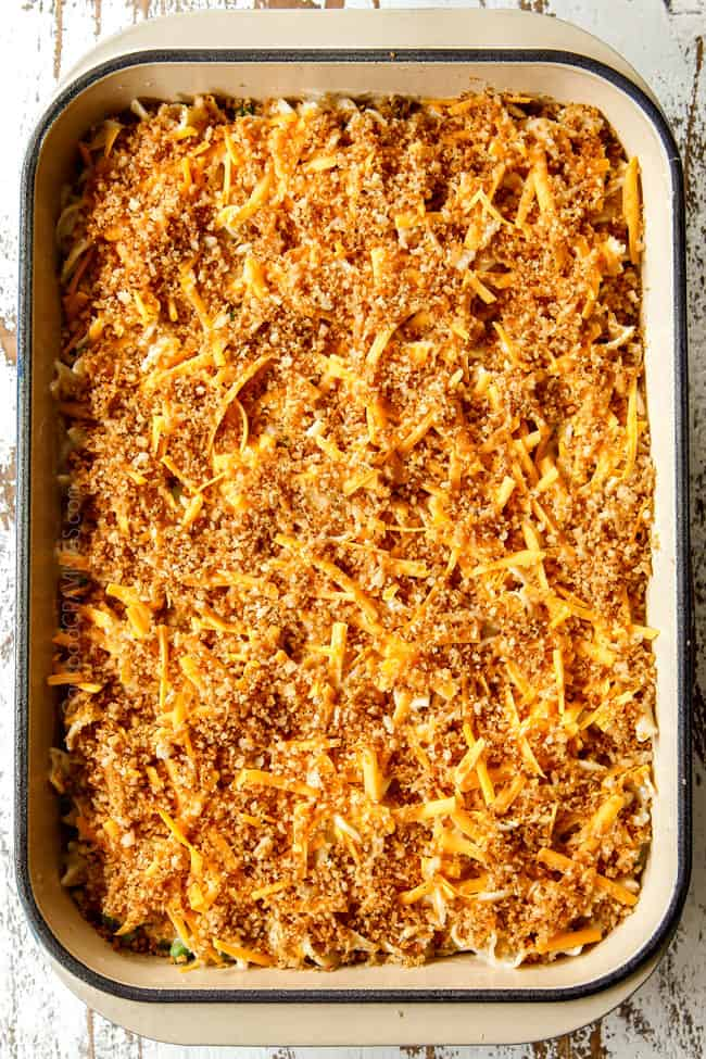 showing how to make Tuna Noodle Casserole by topping with crispy panko topping