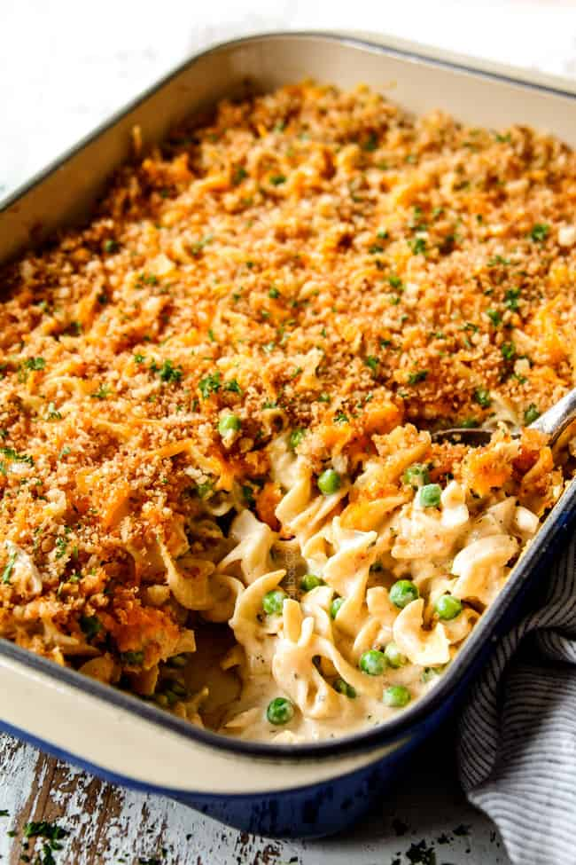 side view of a 9x13 of tuna casserole recipe with cripsy panko showing how golden the panko i s