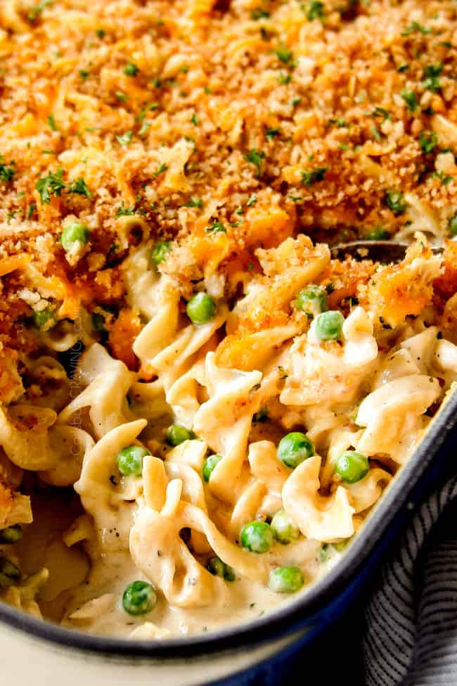 up close of Tuna Casserole in the pan to show how creamy it is