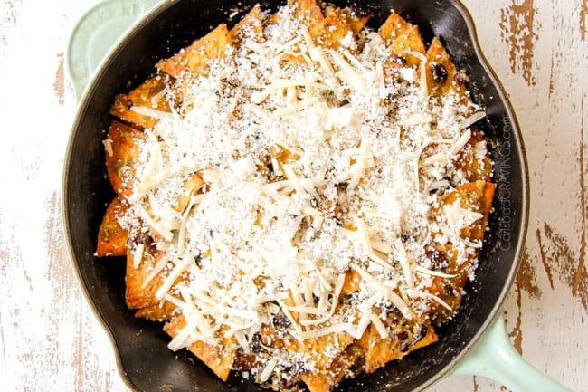showing how to make Chilaquiles recipe by adding queso fresco and baking