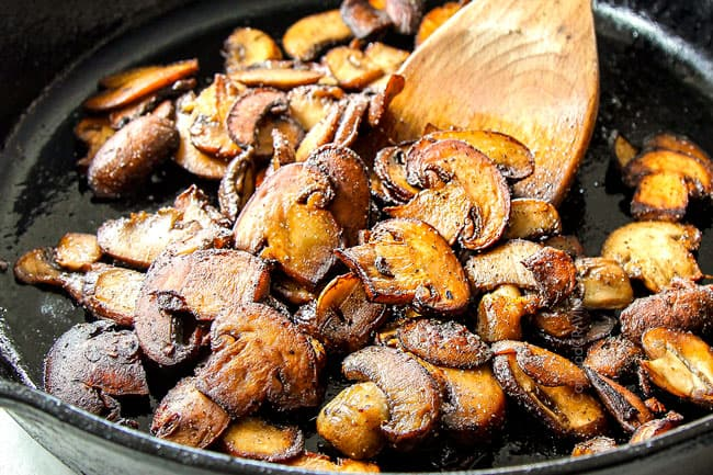 showing how to make best ground beef stroganoff by browning mushrooms in a cast iron skillet