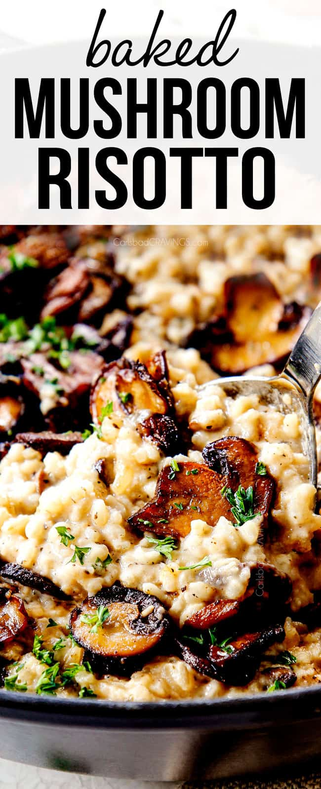up close scooping mushroom risotto to show how creamy it is