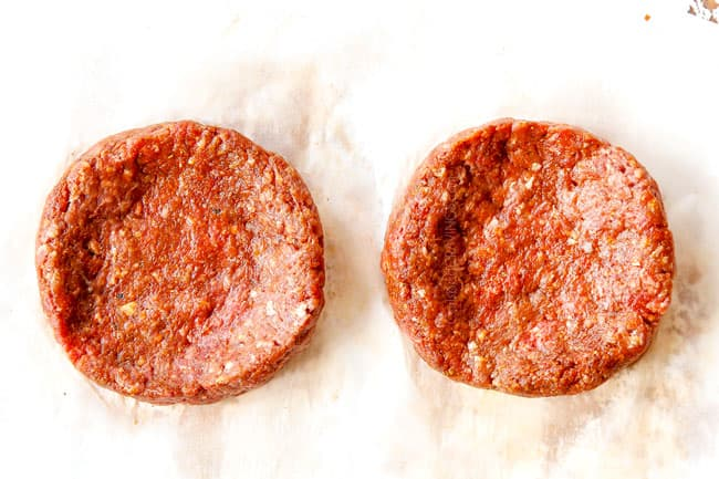 showing how to make burgers by dimpling burgers in the enter so there is a shallow depression