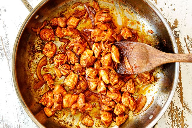 showing how to make rice noodles recipes cooking chicken in red curry paste