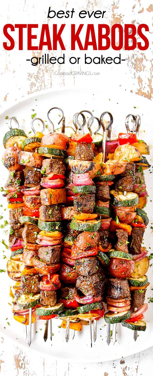 top view of steak kabobs with bell peppers, onions and zucchini