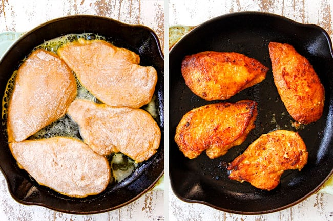 a collage showing how to make coconut milk chicken by placing chicken in a cast iron skillet and cooking until golden