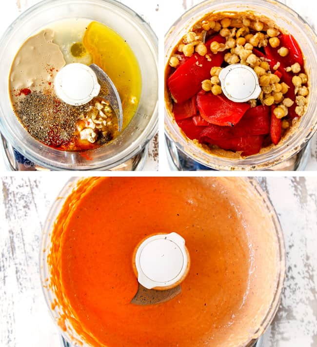 a collage showing how to make roasted red pepper hummus by adding tahini, olive oil to a food processor followed by chickpeas and roasted red bell peppers then blending until smooth