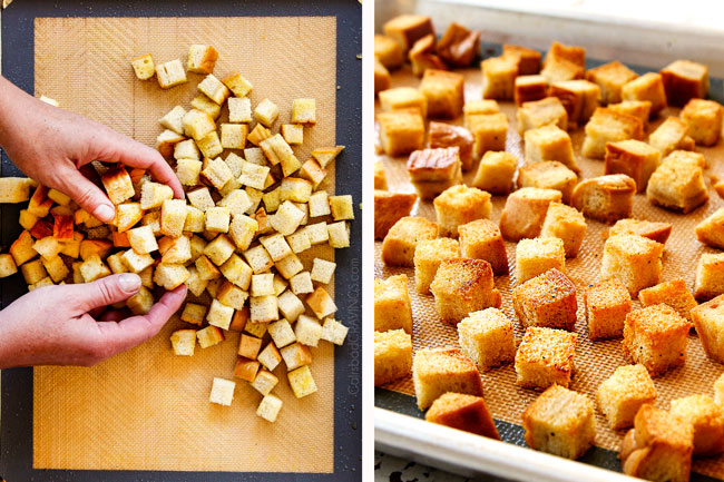 a collage showing how to make croutons for steak salad recipe by tossing croutons in olive oil with two hands then baking until golden