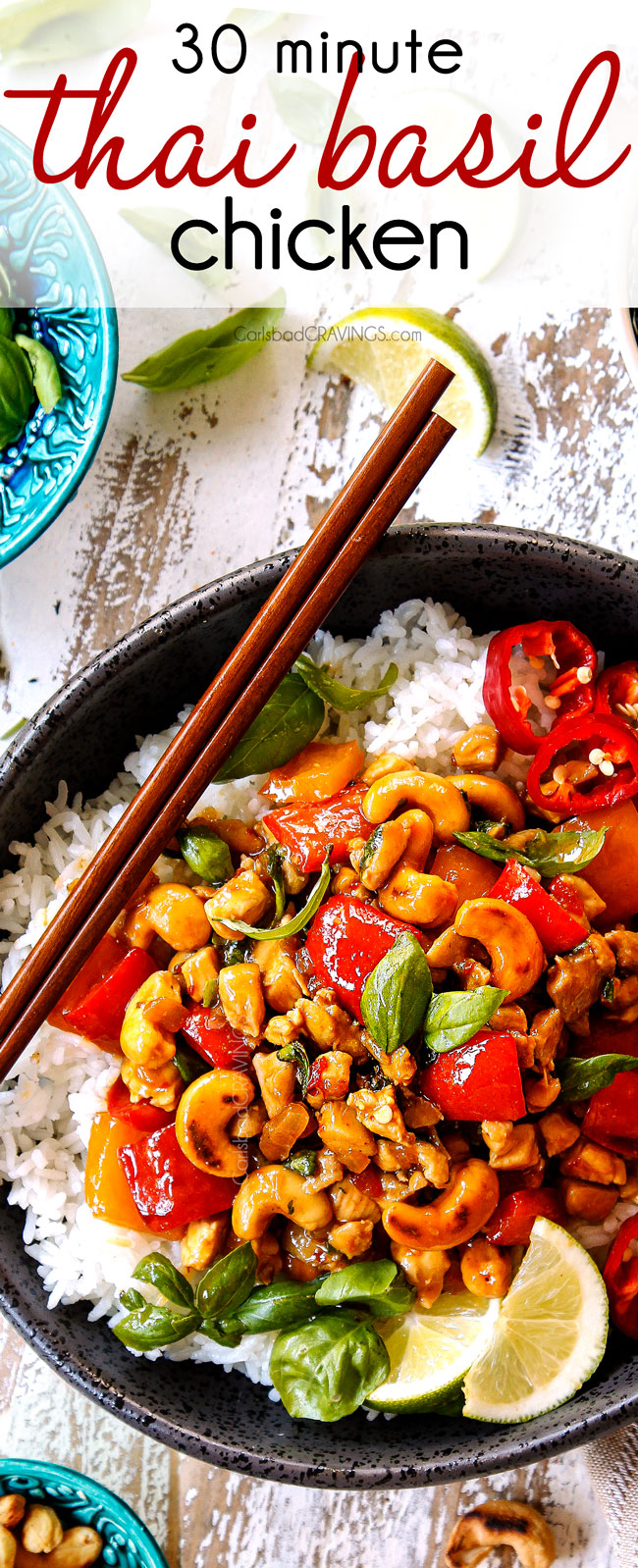 Top view of Thai Basil Chicken in a bowl garnished with cashews