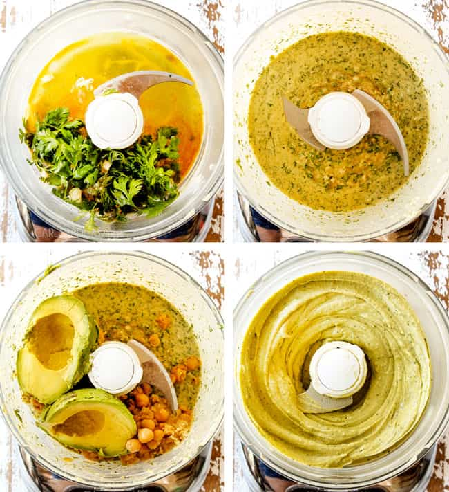 a collage showing how to make avocado hummus by blending tahini with cilantro and adding avocado and chickpeas then blending until smooth in a food processor