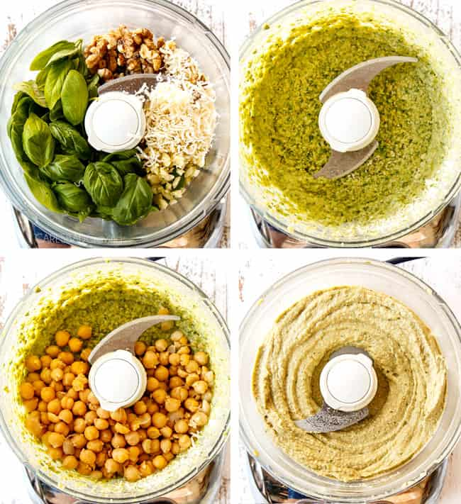 a collage showing how to make pesto hummus by blending tahini with basil, parsley, Parmesan, walnuts and chickpeas in a food processor and blending until smooth in a food processor