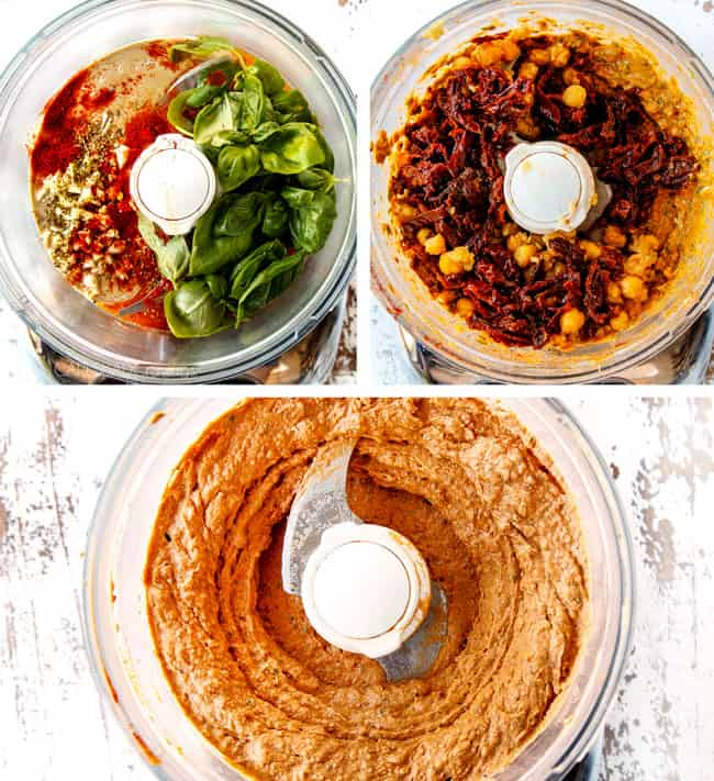 a collage showing how to make sun-dried tomato hummus by adding tahini, olive oil and fresh basil to a food processor followed by chickpeas and sun-dried tomatoes then blending until smooth