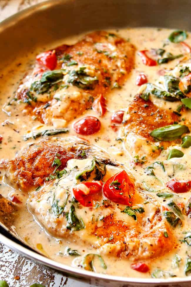 up close of creamy Chicken Florentine in a creamy sauce with spinach